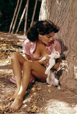 Photo catégorisée avec : Playboy, Brunette, Cat, Celebrity - Star, Marilyn Hanold, Nature, Vintage